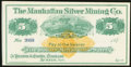 Obsoletes By State:Nevada, Austin, NV- Manhattan Silver Mining Co. $5(3) 187_ Remainder... (Total: 3 notes)