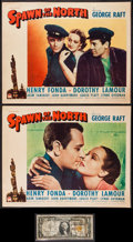 "Movie Posters:Action, Spawn of the North (Paramount, 1938). Lobby Cards (2) (11"" X 14"")& Signed Dollar Bill (2.75"" X 6""). Action.. ... (Total: 3Items)"