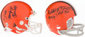 Football Collectibles:Helmets, Dante Lavelli and Bobby Mitchell Signed Cleveland Browns Signed Mini Helmets (2)....