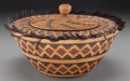 American Indian Art:Baskets, A Yokuts Polychrome Coiled Jar with Lid. c. 1900...