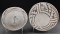 American Indian Art:Pottery, Two Anasazi Black-On-White Pottery Bowls. c. 1100 - 1250 AD...(Total: 2 Items)