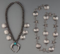 American Indian Art:Jewelry and Silverwork, A Navajo Silver Squash Blossom Necklace and Link Belt . c. 1960...