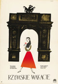 "Movie Posters:Romance, Roman Holiday (Paramount, 1953). Polish One Sheet (23"" X 33""). ..."
