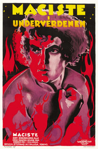 "Maciste in Hell (Cines-Pittaluga, 1927). Danish Poster (23"" X 35""). First Danish Release"
