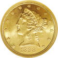 Liberty Half Eagles: , 1898-S $5 MS65 NGC. An extremely pretty representative of thisissue, coated with deep, consistent honey-gold patina on bot...