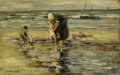 Fine Art - Painting, American:Modern  (1900 1949)  , FOKKO TADAMA (Dutch/American 1871-1937). Mother and Children atthe Sea Shore. Oil on canvas. 10 x 16-1/2 inches (25.4 x...