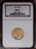 Indian Half Eagles: , 1915 $5 MS62 NGC. Good luster and color and an exceptionally bold strike. A couple of contact marks on the Indian's cheek a...