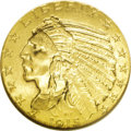 Indian Half Eagles: , 1915 $5 MS64 NGC. While one of the most common dates of the Indian Head half eagle type, coins that grade Near Gem are scar...