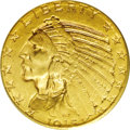 Indian Half Eagles: , 1915-S $5 MS62 PCGS. Well struck save for a touch of flatness on the headdress and the Native American's cheekbone, with an...