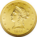 Liberty Eagles: , 1840 $10 AU58 NGC. Just a smidgen of wear interrupts the flow ofluster on this bright yellow-gold representative. Field ma...