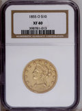 Liberty Eagles: , 1855-O $10 XF40 NGC. A low mintage of 18,000 pieces ensures thebetter date status of this subdued New Orleans Eagle. Straw...