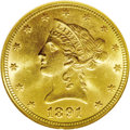 Liberty Eagles: , 1891 $10 MS64 NGC. Only one finer example of this issue has been certified by NGC, and PCGS has never graded a Gem. This ex...
