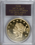 """S.S.C.A. Relic Gold Medals, 1855 $50 SSCA Relic Gold Medal """"1855 Kellogg & Co. Fifty"""" GemProof PCGS. Struck August 31, 2001...."""