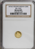 California Fractional Gold, 1874/3 50C Indian Round 50 Cents, BG-1052, High R.4, Deep ProoflikeMS66 NGC. PCGS Population (1/0). (...
