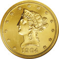 Proof Liberty Eagles: , 1904 $10 PR65 Cameo NGC. The Guide Book reports a proofmintage of 108 pieces, but given its high face value in the yea...