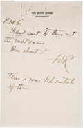 Autographs:U.S. Presidents, Franklin D. Roosevelt Autograph Note Signed as President ConcerningCredit Unions....