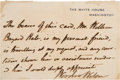 Autographs:U.S. Presidents, Woodrow Wilson Autographed Note Signed as President...