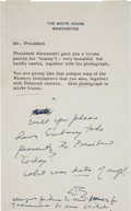 Autographs:U.S. Presidents, Dwight D. Eisenhower Autograph Note Signed with Initials asPresident....