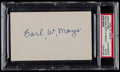 Baseball Collectibles:Others, Carl Mays Signed Index Card....
