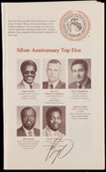 Basketball Collectibles:Programs, 1985 Oscar Robertson Signed NCAA Luncheon Program, PSA/DNA Gem Mint10 Signature. ...
