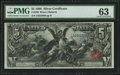 Large Size:Silver Certificates, Fr. 269 $5 1896 Silver Certificate PMG Choice Uncirculated 63.. ...