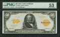 Large Size:Gold Certificates, Fr. 1199 $50 1913 Gold Certificate PMG About Uncirculated 53.. ...