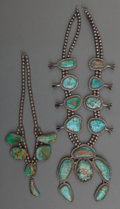 American Indian Art:Jewelry and Silverwork, Two Navajo Silver and Turquoise Necklaces. c. 1960... (Total: 2Items)