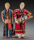 American Indian Art:Beadwork and Quillwork, Two Contemporary Plains Beaded Hide Dolls. c. 1970... (Total: 2 Items)