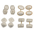 Estate Jewelry:Cufflinks, Art Deco Diamond, Platinum-Topped Gold, Gold Cuff Links. ...(Total: 4 Items)