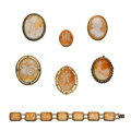 Estate Jewelry:Cameos, Shell Cameo, Gold, Silver Vermeil, Base Metal Jewelry. ... (Total:7 Items)