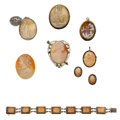 Estate Jewelry:Cameos, Shell Cameo, Marcasite, Glass, Gold, Silver, Base Metal Jewelry.... (Total: 7 Items)