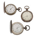 Timepieces:Pocket (pre 1900) , Two Elgin's & Waltham Key Wind Pocket Watches. ... (Total: 3Items)