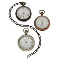 Three Open Face Pocket Watches For Parts Or Repair