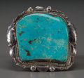 American Indian Art:Jewelry and Silverwork, A Large Navajo Silver and Turquoise Bracelet...