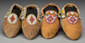 American Indian Art:Beadwork and Quillwork, Two Pairs of Cree Beaded Hide Moccasins... (Total: 4 Items)