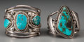American Indian Art:Jewelry and Silverwork, Two Navajo Silver and Turquoise Bracelets ... (Total: 2 Items)