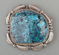 American Indian Art:Jewelry and Silverwork, A Large Navajo Silver and Turquoise Pendant...