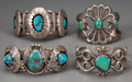 American Indian Art:Jewelry and Silverwork, Four Navajo Silver and Turquoise Bracelets. ... (Total: 4 Items)