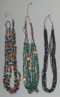 American Indian Art:Beadwork and Quillwork, Three Southwest Stone and Shell Necklaces... (Total: 3 Items)