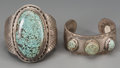 American Indian Art:Jewelry and Silverwork, Two Navajo Silver and Turquoise Bracelets...