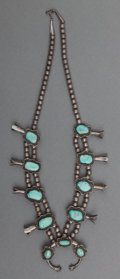 American Indian Art:Jewelry and Silverwork, A Navajo Silver and Turquoise Squash Blossom Necklace ...