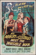 "Movie Posters:Comedy, Abbott and Costello Meet the Invisible Man (UniversalInternational, 1951). One Sheet (27"" X 41""). Comedy.. ..."