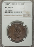 French Colonies, French Colonies: Louis Philippe 10 Centimes 1844-A AU58 Brown NGC,...