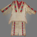 American Indian Art:Beadwork and Quillwork, A Sioux Beaded Hide Shirt with Matching Leggings. c. 1930. ...(Total: 3 Items)