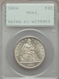 Seated Half Dollars, 1884 50C Repunched Date, WB-102, MS61 PCGS....