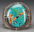 American Indian Art:Jewelry and Silverwork, A Navajo Silver and Stone Bracelet...