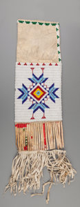 American Indian Art:Beadwork and Quillwork, A Sioux Beaded Hide Tobacco Bag...