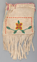 American Indian Art:Beadwork and Quillwork, A Plains Beaded Hide Drawstring Pouch...
