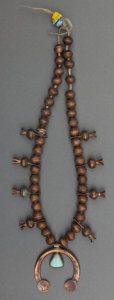 American Indian Art:Jewelry and Silverwork, A Navajo Copper and Turquoise Squash Blossom Necklace...