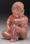 Pre-Columbian:Ceramics, A Colima Seated Female Figure. c. 200 BC - 200 AD...